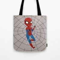 spider man Tote Bags featuring Spider-Man by Nozubozu