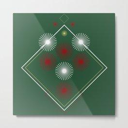 Geometric green red christmas abstract  Metal Print