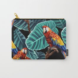 tropical leaves macaw pattern 2 Carry-All Pouch