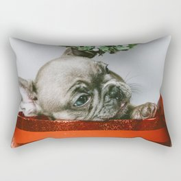 Christmas Pup in a Present with Mistletoe (Color) Rectangular Pillow