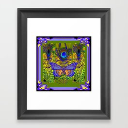 BLUE-PURPLE BUTTERFLY PEACOCK FEATHER PATTERNS Framed Art Print