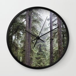 Foggy Pacific Northwest Forest Wall Clock
