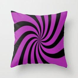 Spiral (Black & Purple Pattern) Throw Pillow