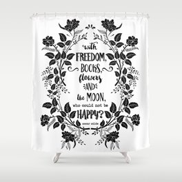 Freedom & Books & Flowers & Moon Shower Curtain