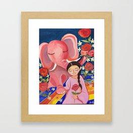 Elephant Somin and a girl in June night   Yuko Nagamori Framed Art Print