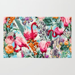 Floral and Flamingo VII pattern Rug