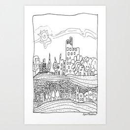 Ciudad de mis amores. Art Print