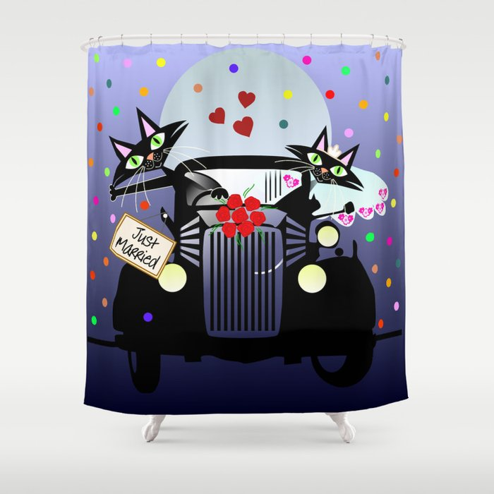 Cute Just Married Cats In A Vintage Car Shower Curtain