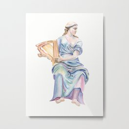 Lady with the golden harp Metal Print