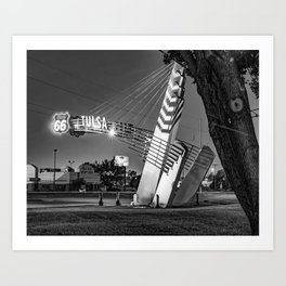 Tulsa Western Gateway Arch and Neon Lights Along Route 66 - Black and White Art Print