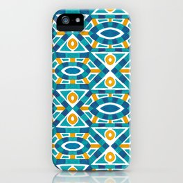 Orange teal watercolor moroccan motif pattern iPhone Case