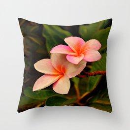 Hawaiian Orange Sherbet Plumeria Throw Pillow
