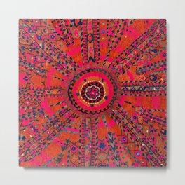 Pink Wildflower Sunshine I // 18th Century Colorful Pinkish Red Blue Sapphire Metallic Happy Pattern Metal Print