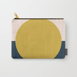 Horizon. Mustard Yellow Sun Dot on Pale Blush Pink and Navy Blue Color Block. Minimalist Geometric Carry-All Pouch