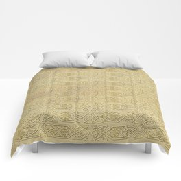 Golden Celtic Pattern on canvas texture Comforters