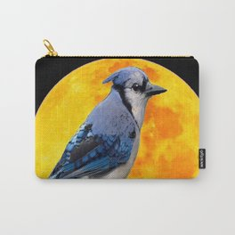 BLUE JAY & GOLDEN MOON LIGHT ABSTRACT Carry-All Pouch