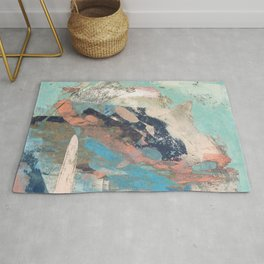 Cotton Candy: a colorful abstract mixed media piece in pastel green, pink, blue, and white Rug