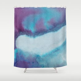 WaterColor Blue and Purple Print Shower Curtain