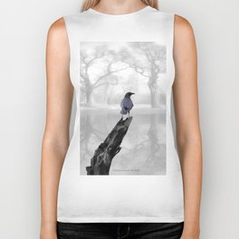 Crow On Misty Pond A114 Biker Tank