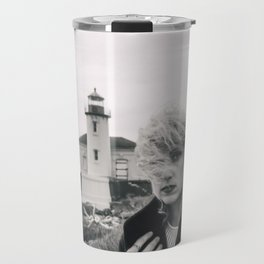 Girl in the Wind at Coquille River Lighthouse - Bandon, Oregon Black and White Photograph Travel Mug