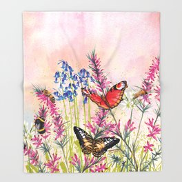 Wild meadow butterflies Throw Blanket