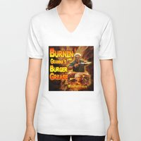 grease V-neck T-shirts featuring Burn Like Gramma's Burger Grease by Big Tasty