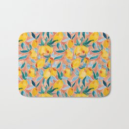 Lucky Lemons Watercolor Fruit Pattern in Peach and Yellow Bath Mat