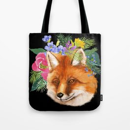 Red Fox with Flowers Tote Bag
