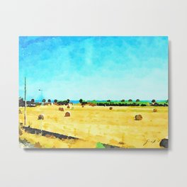 Travel by train from Teramo to Rome: field with hay bales and sea seen from the train window Metal Print