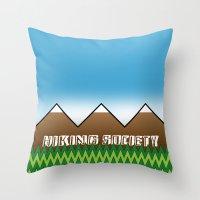hiking Throw Pillows featuring Hiking Society by klausbalzano