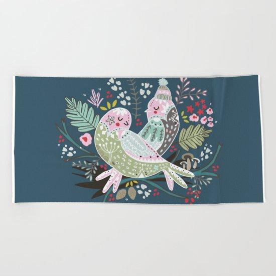 Holiday Birds Love Beach Towel