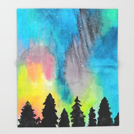 Northern Lights and Starry Sky Throw Blanket