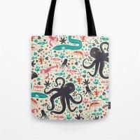 tea Tote Bags featuring Sea Patrol by Anna Deegan