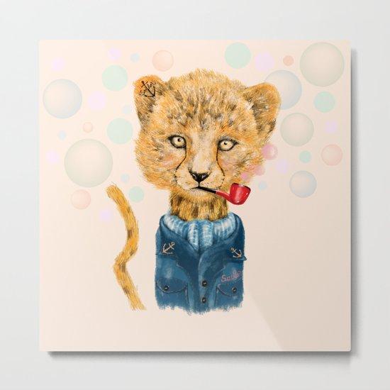 Cheetah Sailor Metal Print