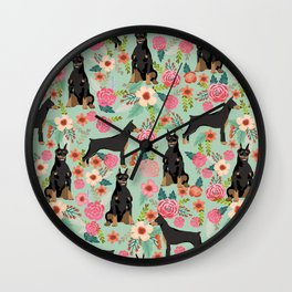 Doberman Pinscher florals must have dog breed gifts for dog person with doberman Wall Clock
