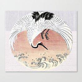 Crane and Wave Canvas Print