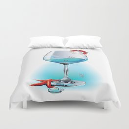 The stormy ocean in the wine glass Duvet Cover