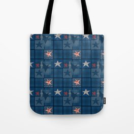 Blue denim patchwork . Tote Bag