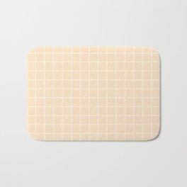 Bisque - pink color - White Lines Grid Pattern Bath Mat