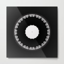 Black and White Sun Flower Abstract Metal Print