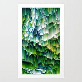 Green Digital Waterfall Design - Texture Pattern Unique Art Print