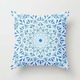 Simple Blue Mandala Throw Pillow