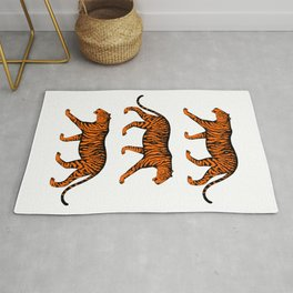 Tigers (White and Orange) Rug