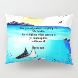 Love Yourself First Inspirational Quote With Underwater Scene Painting Pillow Sham