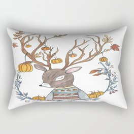 Autumn Pumpkin Deer Rectangular Pillow