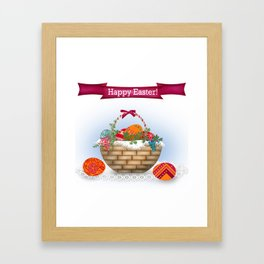 The occasion . Basket with Easter eggs . Retro . Framed Art Print