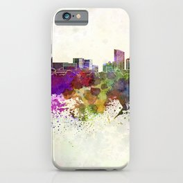 Grand Rapids skyline in watercolor background iPhone Case