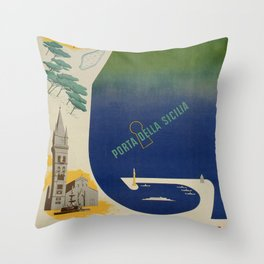 Messina port of Sicily Throw Pillow