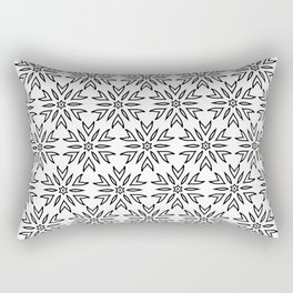 Big Flowers Black and White Floral Pattern Rectangular Pillow