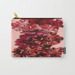Cranberry-Pink Color Floral Brown Pattern Carry-All Pouch